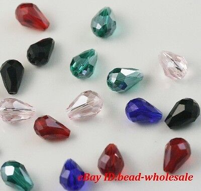 100pcs Whosesale mixed crystal glass teardrop spacer beads 8mm