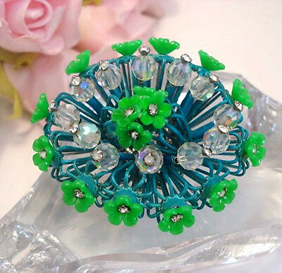 Vintage Costume Jewelry VENDOME Rare Rhinestone Enamel Blue Green Brooch Pin & VINTAGE COSTUME JEWELRY VENDOME Rare Rhinestone Enamel Blue Green ...