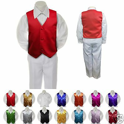 Red Satin Vest Only  for  Boy Baby Toddler Kid Teen Formal Wedding Party S-20