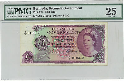 Bermuda 10 Pounds 1964 Pick 22 PMG 25 Very Fine - ULTRA RARE NOTE