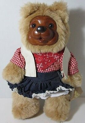 1989 ROBERT RAIKES BONNIE LIMITED EDITION Wooden Face Teddy Bear SATURDAY