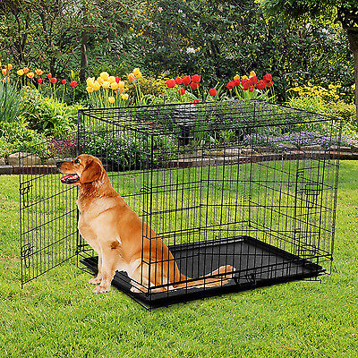 """Pawhut 48"""" Black Folding Dog Cage Pet Crate Kennel House 2 Doors w/ ABS Tray"""