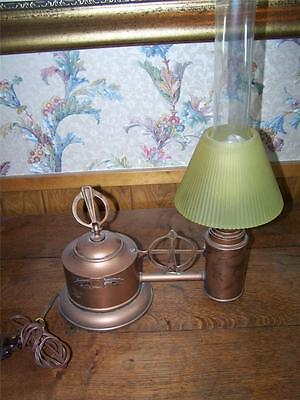 Early 1900s Vintage Lamp Antique 1900-1940 Cast Iron Lamps Glass Art Deco Copper