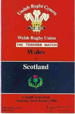 WALES v SCOTLAND 1986 RUGBY PROGRAMME at CARDIFF