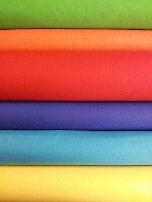 POPLIN PATCHWORK Fabric Material Cotton Polyester Plain Bright Colours Sew Dress