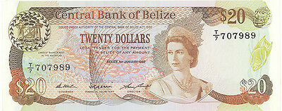 BELIZE, Queen Elizabeth  P-49b   $20, 1987  Uncirculated
