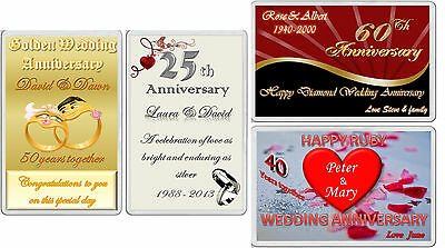 Fridge Magnet Gifts WEDDING ANNIVERSARY Silver Gold Diamond Ruby personalized