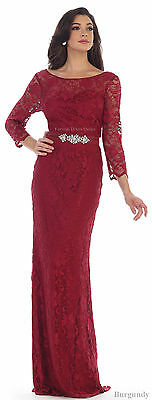 Special Occasion 3/4 Sleeve Formal Demure Lace Dresses Pageant Prom Evening Gown