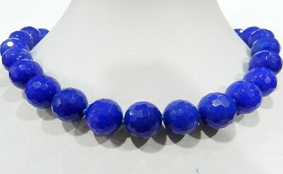 """Beautiful 14mm Blue Sapphire Faceted Gems Round Beads Necklace 18 """""""
