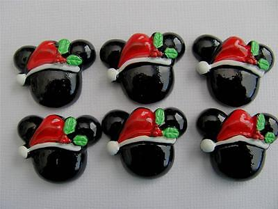 BB FLATBACKS MICKEY MOUSE HEAD pk of 6 CHRISTMAS minnie resin flatback bows