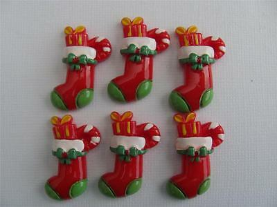 BB FLATBACKS CHRISTMAS STOCKINGS pk of 6 xmas resin flatback hair bows cards