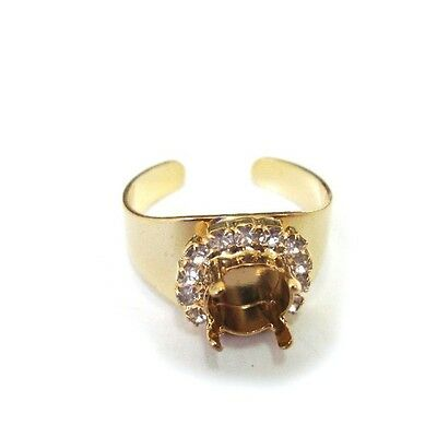 39ss Gold Adjustable Ring with Rhinestones for Setting ss39 Swarovski 1028, 1088