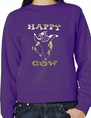 Happy Cow In Gold  Glitter  Sweatshirt/Jumper Unisex Birthday Gift Size S-XXL