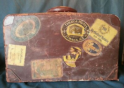 Antique Leather Suitcase w/ Original Travel Stickers TWA Waldorf-Astoria Raleigh