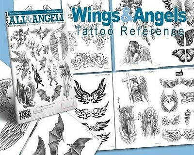 WINGS & ANGELS Tattoo Flash Design Book 66-Pages Cursive Writing Art Supply