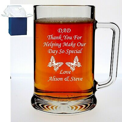 Personalised Pint Beer Glass Tankard Birthday 18th 21st 30th 40th 50th 60th Gift