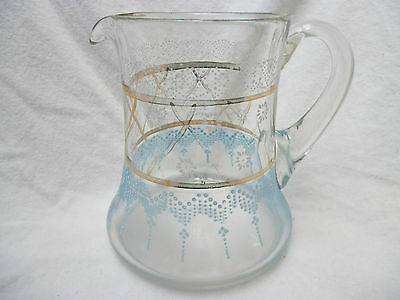 ANTIQUE VICTORIAN ENAMELED GLASS WATER JUG - 16cm high - good cond - early 1900s