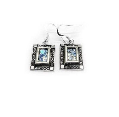 Ancient Roman Glass Sterling Silver 925 Earrings - Holyland, Israel, Jesus