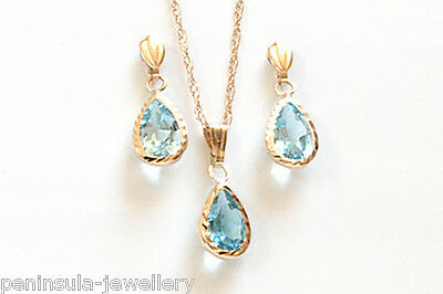 9ct Gold Topaz Teardrop Pendant and Earring Set Boxed Made in UK