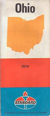 1974 road map ~ OHIO ~ Standard Oil, Amoco highway map