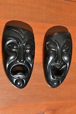 Vintage Wall Art Masks Pair Signed Unique Expressions Face