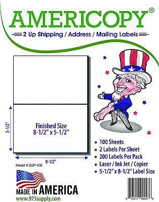 "Ace Brand Inkjet 2000 Labels Half Sheet Shipping Labels 8.5 X 5.5"" 2 UP"