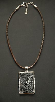 SILPADA - N1011 - Brown Leather Necklace Black Tooled-Leather Pendant - RARE HTF