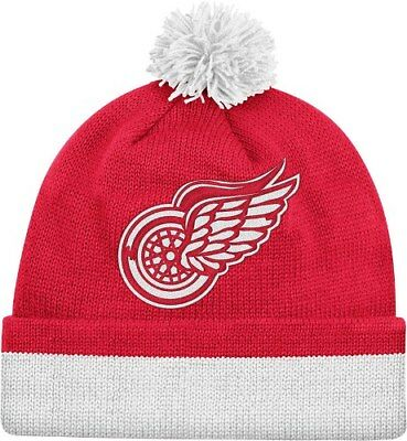 fccf5c9526c Detroit Red Wings Mitchell   Ness NHL Jersey Stripe Cuffed Knit Hat w Pom