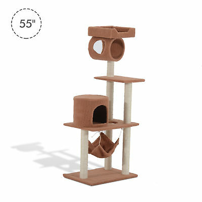 """Pawhut 55"""" Cat Tree Kitty Furniture Toy Condo Pet Scratching Posts House Coffee"""
