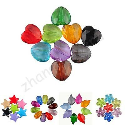 Wholesale Mixed Flower & Drop & Star & Heart Acrylic Spacer Pendants Loose Beads