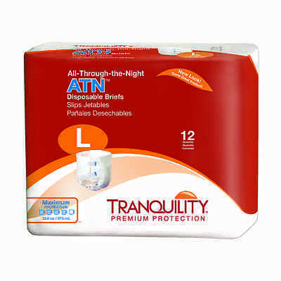 Tranquility (All-Through-the-Night) Disposable Briefs Large Case of 96 - #2186