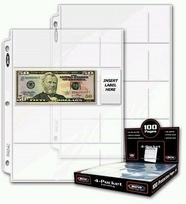"100 4-Pocket Currency Pages 2.75"" x 6.75"" BCW NEW"