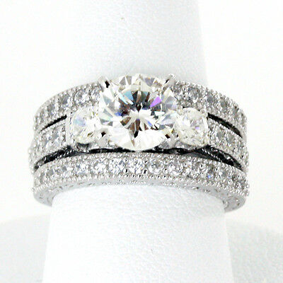 6MM Three Round Stone CZ Sterling Silver Engagement Ring 3 Ring Set Half Sizes