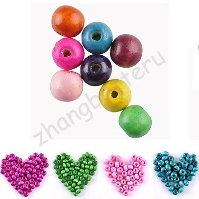 Wholesale Colorful Round Wood Spacer Loose Beads Charms 3.5 5 7 8 10 12 14 16 mm