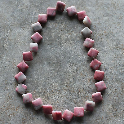 "12x12mm Natural Rhodonite Square Diamond Loose Beads 15.5"" strand"