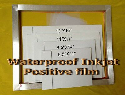 "Waterproof Inkjet Screen Printing Film 8.5"" x 11"" 10 Sheets- 4 mil"