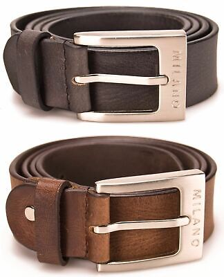 "Mens Leather Belts Real 1.5""  Full Grain Belt Black Brown Genuine Milano"