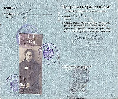Judaica Wwi Yiddish German Military-Pass Lithuania 1917 Photo,stamps, Signatures