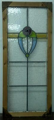 LARGE OLD ENGLISH STAINED GLASS WINDOW Flower Design