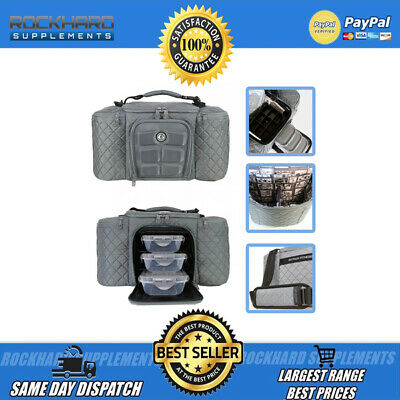 New 6 Pack Fitness Bag Grey Small 3 Compartments Gym Training Meal Organizer