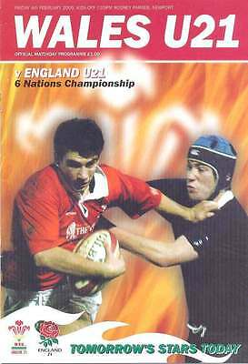WALES v ENGLAND UNDER 21 RUGBY PROGRAMME 4 Feb 2005, NEWPORT