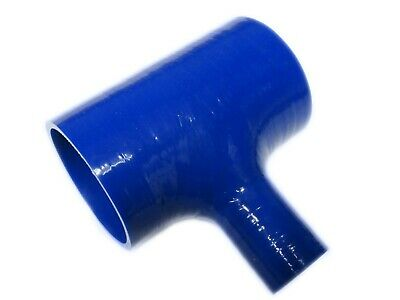 "BLUE Silicone Hose T-Piece 63mm Straight (2.5"" Inch), 25mm T Joiner"