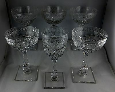 Six Pcs Hawkes Manor - 5 Tall Champagne + 1 Wine Goblet (Cut) Square Bases