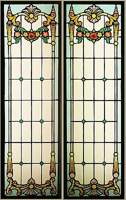 Antique Art Nouveau French Windows Hand Painted STAINED GLASS Can Ship Worldwide