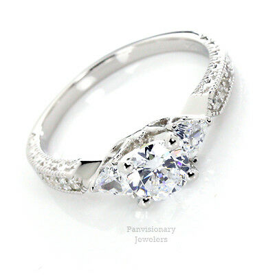 Silver CZ Engagement Ring 6.5MM Round & 2 Trillion AAA CZ Stones 925 Sterling