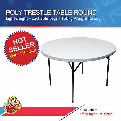 Trestle Table, Round Poly Folding Table, Outdoor Furniture Tables, Round Tables