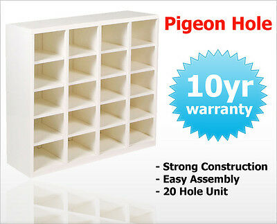 Pigeon Hole Storage Shelving Office Cabinet 20 x A4 Filing Slot Shelves White