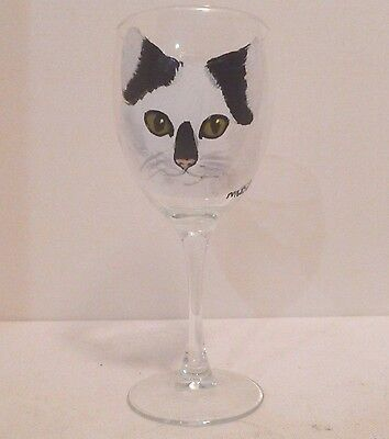 Hand Painted White Black Cat Wine Glass Pet Lovers Boutique