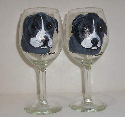 Hand Painted American Staffordshire Dog Wine Glasses set 2 pit