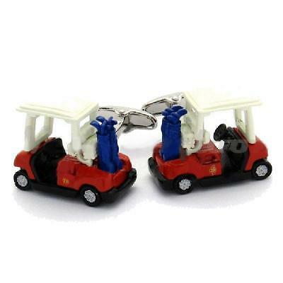 Red golf buggy and bag cufflinks